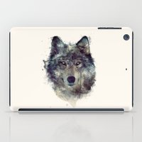 wildlife iPad Cases featuring Wolf // Persevere  by Amy Hamilton