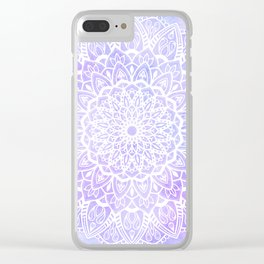 White Mandala on Pastel Blue and Purple Textured Background Clear iPhone Case