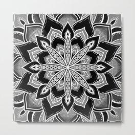 Mandala: Black Gray White Flower Metal Print
