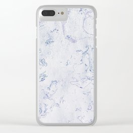Purple Blue and White Marble Pattern Clear iPhone Case