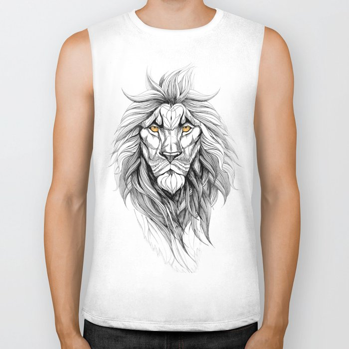 The Lion (black stroke version for t-shirts) Biker Tank