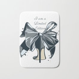 Fashion illustration with high heel shoe and bow. I am limited edition Bath Mat