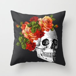 Day of the Dead Black Linen Throw Pillow