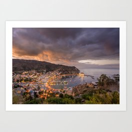 Harbor at Avalon on Catalina Island at Sunset Art Print