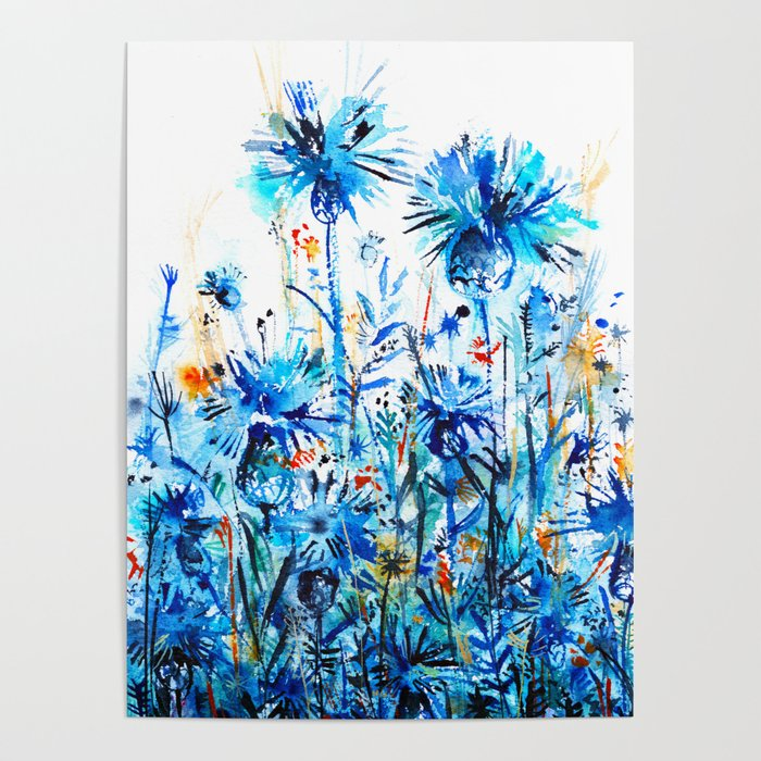 thickets of cornflowers Poster