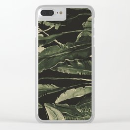 Horizontal Leaves Clear iPhone Case