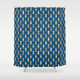 Ice Cream Cone Scoops Blue Robayre Shower Curtain