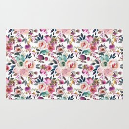Hand painted blush pink purple watercolor floral Rug