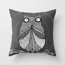 Doodle Owl Throw Pillow