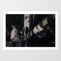 vintage bass guitar Art Print