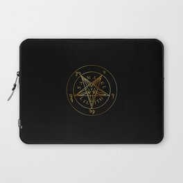 Wiccan symbol golden Sigil of Baphomet- Satanic god occult symbol Laptop Sleeve