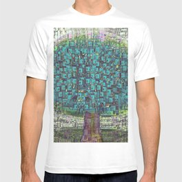 Tree Town - Magical Retro Futuristic Landscape T-shirt