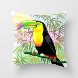 Toucan Wild Bird from Amazon Rainforest Throw Pillow