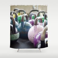 crossfit Shower Curtains featuring Kettlebell Gang by StirlingStudio