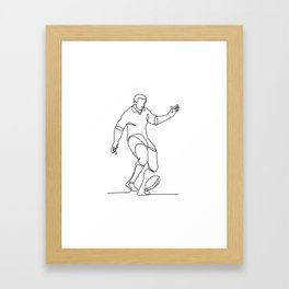 Rugby Player Kicking Ball Continuous Line Framed Art Print
