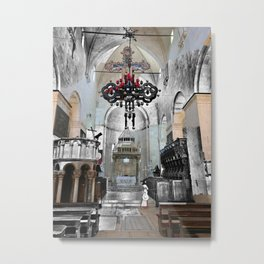 Church in Trogir, Croatia Color/Black & White Mashup Metal Print