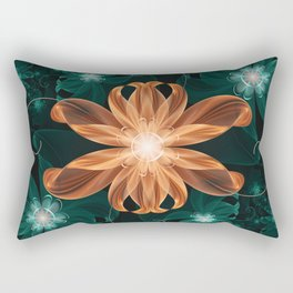 Alluring Turquoise and Orange Tiger Lily Flower Rectangular Pillow