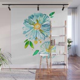 Lakeside Watercolour Blue Daisies Wall Mural