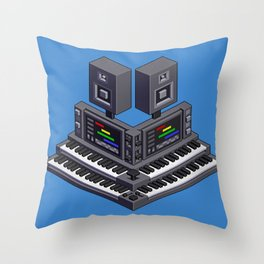 Electronic music altar — isometric pixel art Throw Pillow