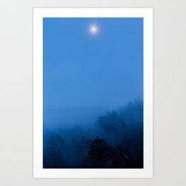 Misty Moonrise Art Print