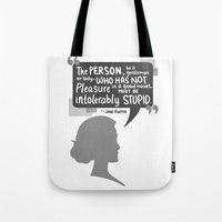 jane austen Tote Bags featuring [Jane Austen] Book Lover by samarasketch