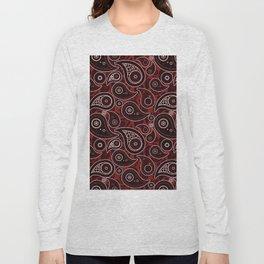 Maroon Red Paisley Pattern Long Sleeve T-shirt