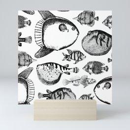 B&W Marine Pattern 04 Mini Art Print