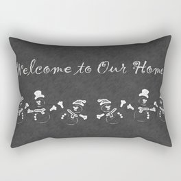Welcome to Our Home Snowman Chalkboard Rectangular Pillow