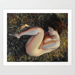 Woman among the grass Art Print