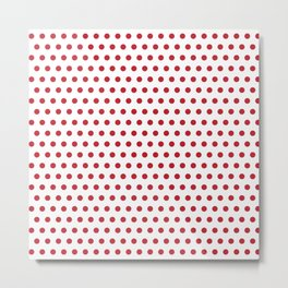Retro Classic Red Polka Dots on White Background Pattern Metal Print