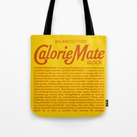 metal gear solid Tote Bags featuring Metal Gear Solid - Calorie Mate Block by GunnerGrump