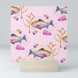 Watercolor under the sea, fish nursery art Mini Art Print