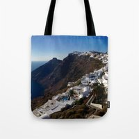 greg guillemin Tote Bags featuring Caldera View - Greg Katz by Artlala for MSF Doctors Without Borders