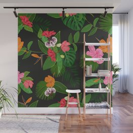 Red, orange, pink hibiscus and heaven bird flowers and tropical leaves pattern black background Wall Mural