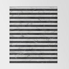 Marble Stripes Pattern - Black and White Throw Blanket