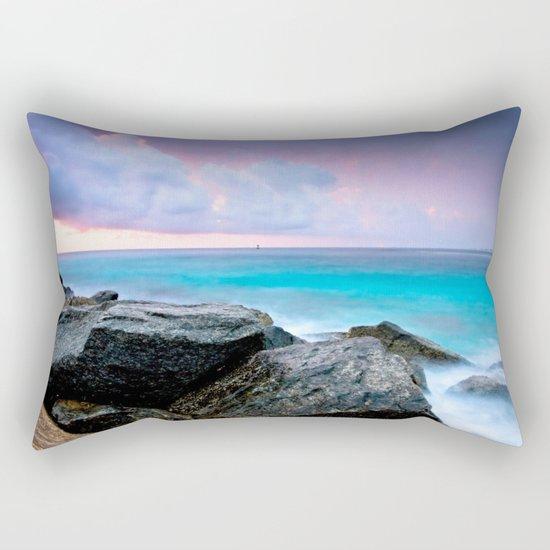 Aqua Water Pastel Pink Sunrise Rectangular Pillow