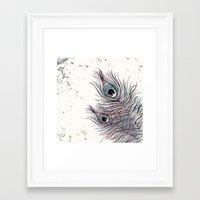 peacock Framed Art Prints featuring PEACOCK by Monika Strigel