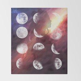 Moon Goddess Selene Throw Blanket