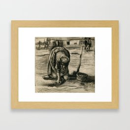 Vincent Van Gogh Peasant Woman Planting Potatoes Framed Art Print