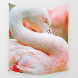 Mad Flamingo (Color) Wall Tapestry