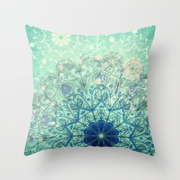 Mandala in Sea Green and Blue Throw Pillow
