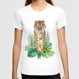 watercolor illustration of a tropical laves and Tiger T-shirt