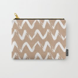 Brushstrokes brown hand drawn chevron faux kraft  Carry-All Pouch