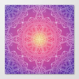 White Lace Mandala in Purple, Pink, and Yellow Canvas Print