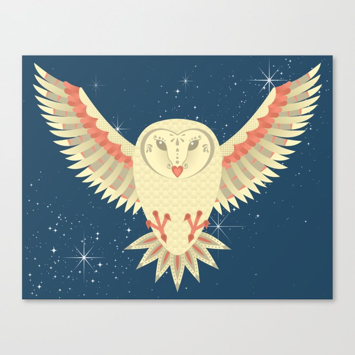 Flying Barn Owl Canvas Print