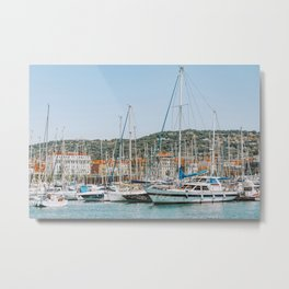 Luxurious Yachts And Boats In Cannes Harbor Port, Marina Bay, Rich Lifestyle, Mediterranean Sea, Cannes City French Riviera Metal Print