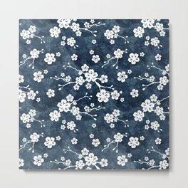 Navy and white cherry blossom pattern Metal Print