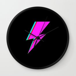 Bowie style pink Lightning Bolt Wall Clock