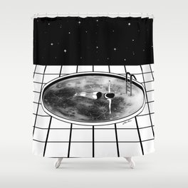 Pool Moon Shower Curtain