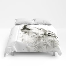 Wolf Howling Watercolor Wildlife Painting Comforters